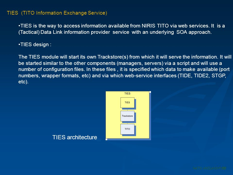 TIES architecture TIES (TITO Information Exchange Service)