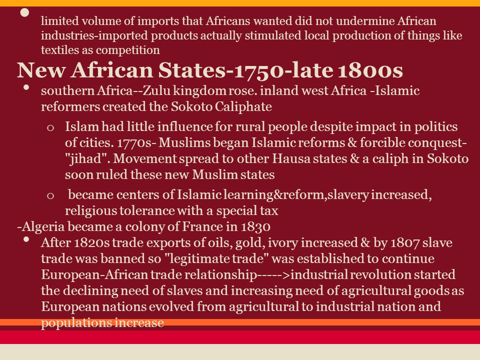 New African States-1750-late 1800s