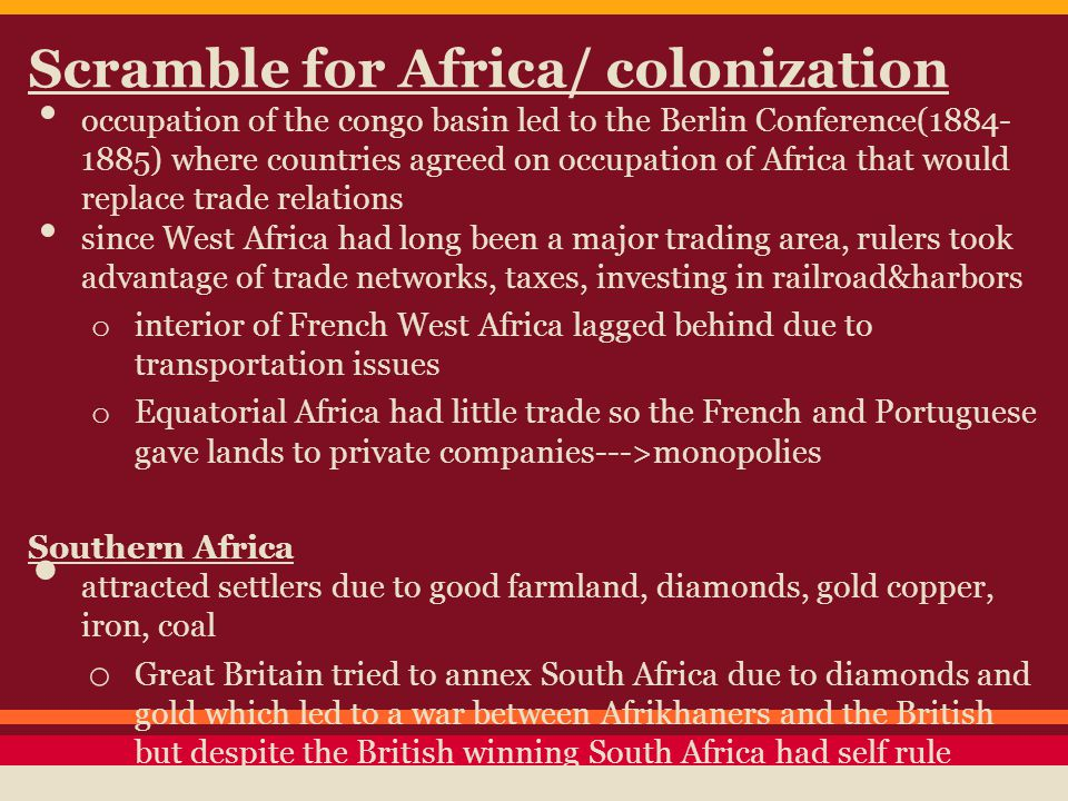 Scramble for Africa/ colonization