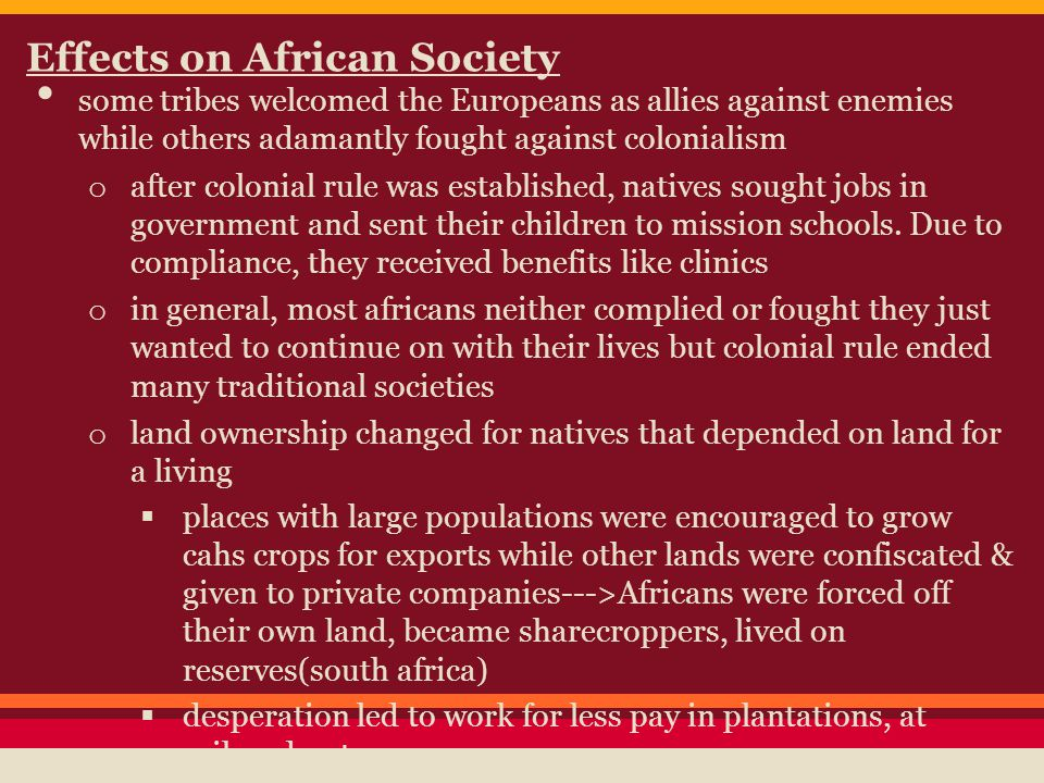 Effects on African Society