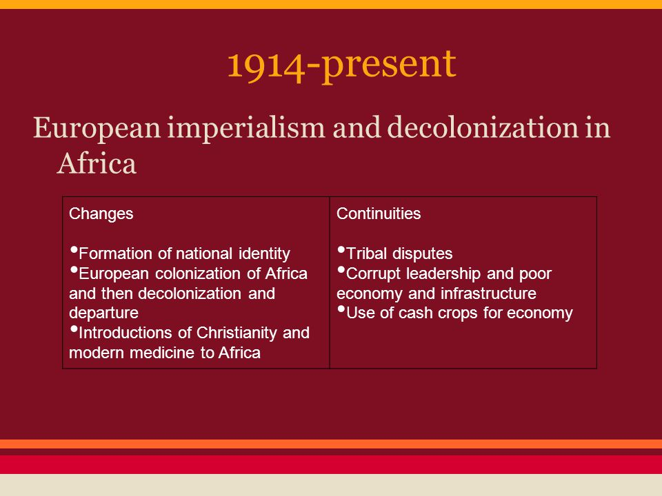 1914-present European imperialism and decolonization in Africa Changes