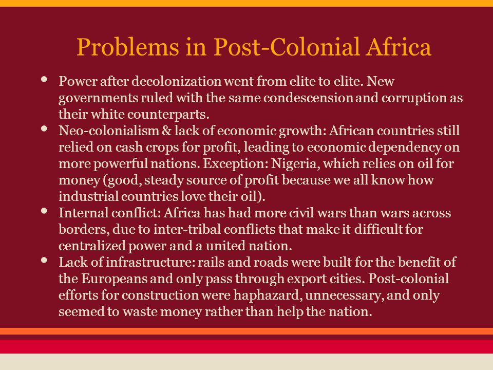 Problems in Post-Colonial Africa