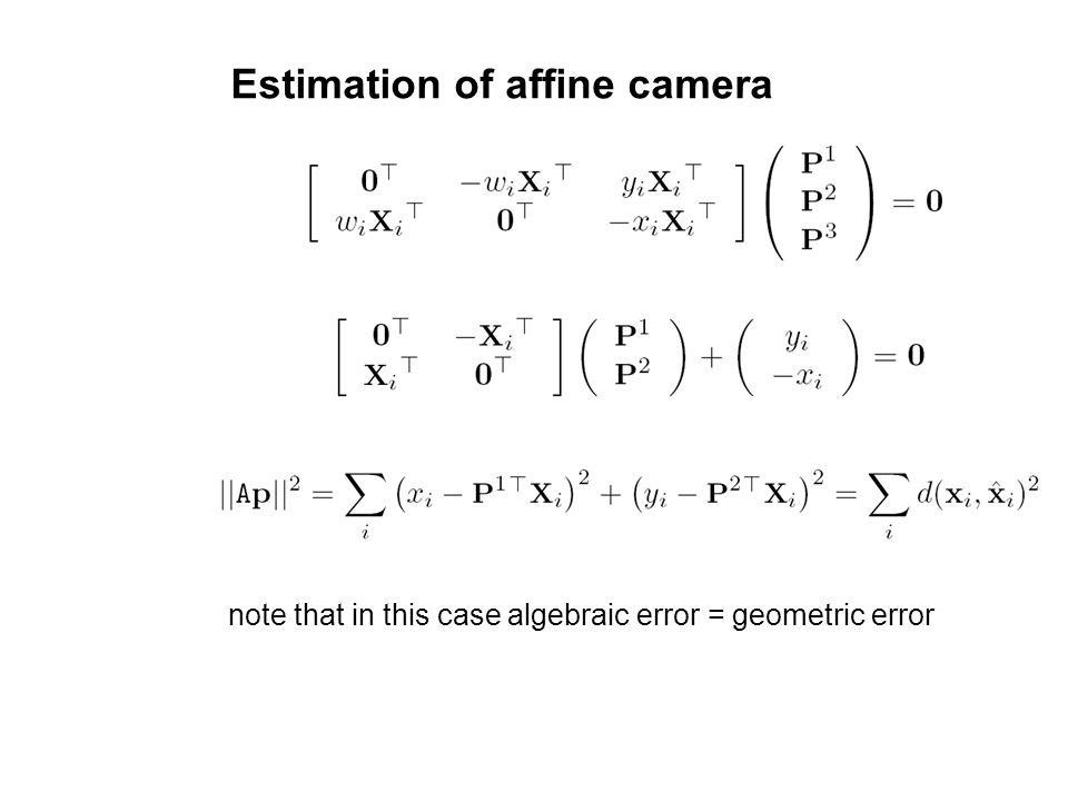 Estimation of affine camera