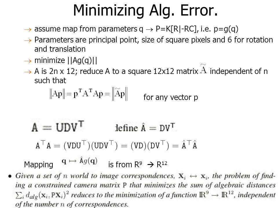 Minimizing Alg. Error. for any vector p