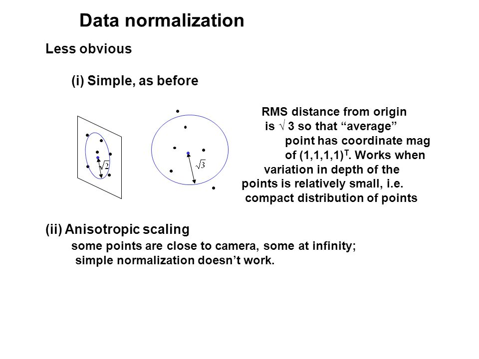 Data normalization Less obvious (i) Simple, as before