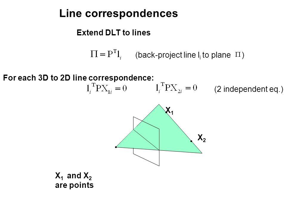 Line correspondences Extend DLT to lines