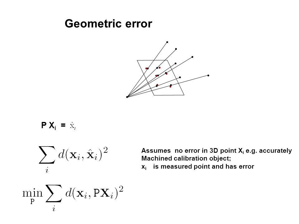 Geometric error P Xi = Assumes no error in 3D point Xi e.g. accurately