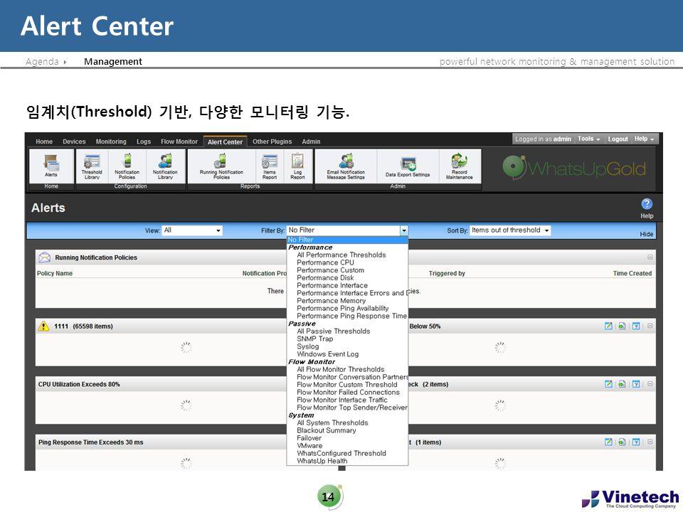Alert Center Management 임계치(Threshold) 기반, 다양한 모니터링 기능.
