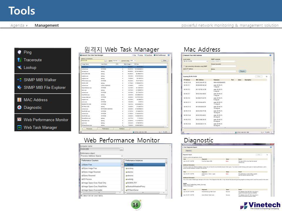 Tools 원격지 Web Task Manager Mac Address Web Performance Monitor