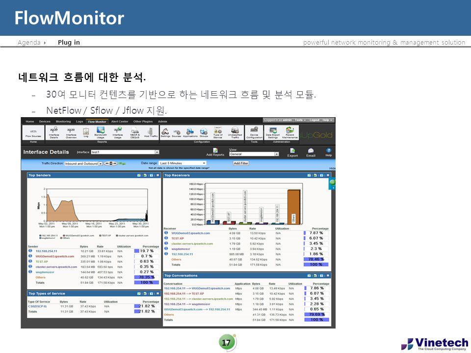 FlowMonitor 네트워크 흐름에 대한 분석. 30여 모니터 컨텐츠를 기반으로 하는 네트워크 흐름 및 분석 모듈.