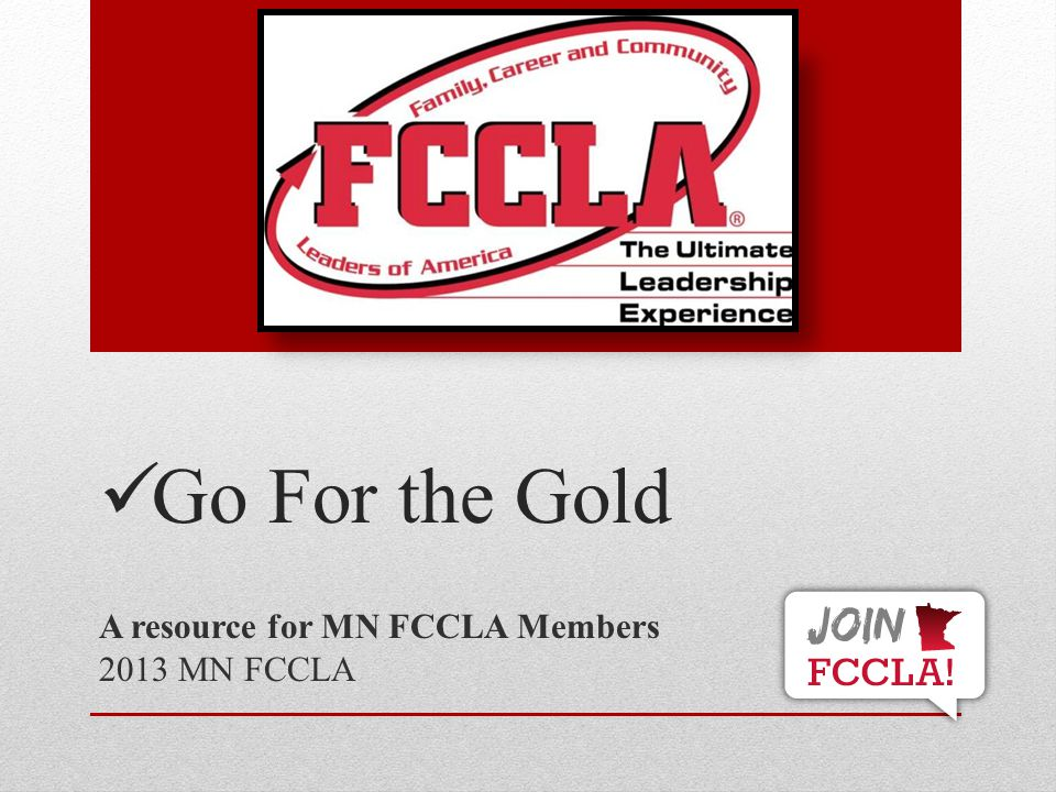 A resource for MN FCCLA Members 2013 MN FCCLA