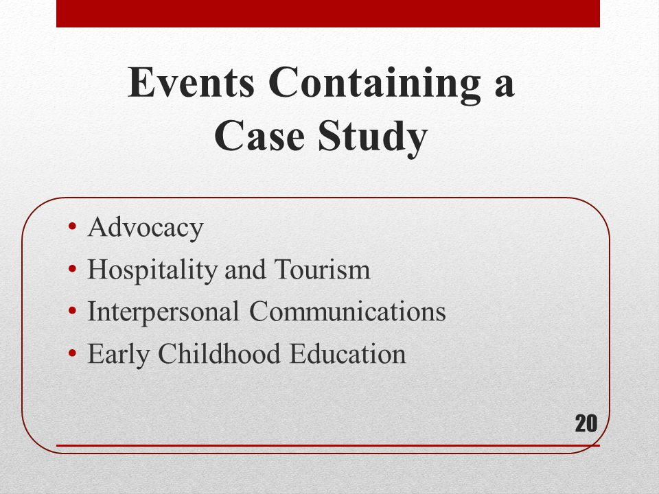 Events Containing a Case Study
