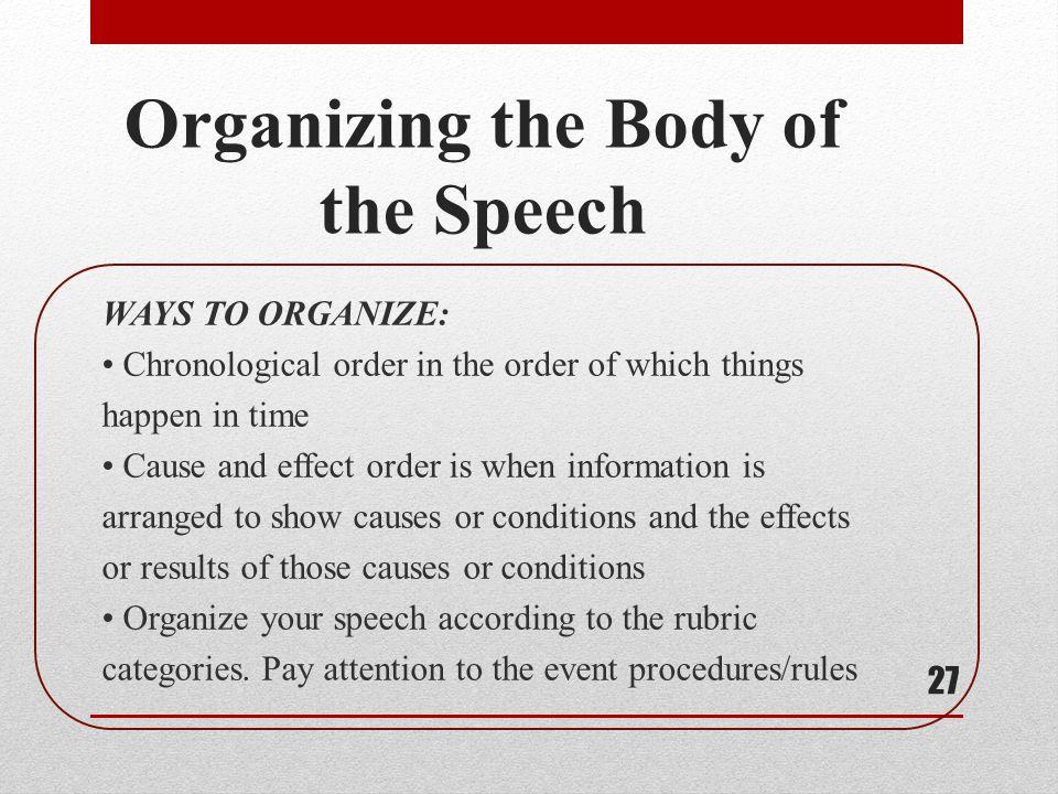 Organizing the Body of the Speech