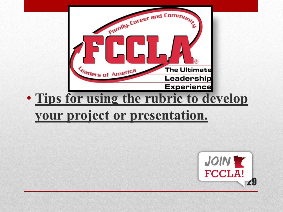 Tips for using the rubric to develop your project or presentation.