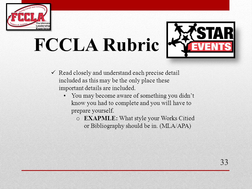 FCCLA Rubric Read closely and understand each precise detail included as this may be the only place these important details are included.