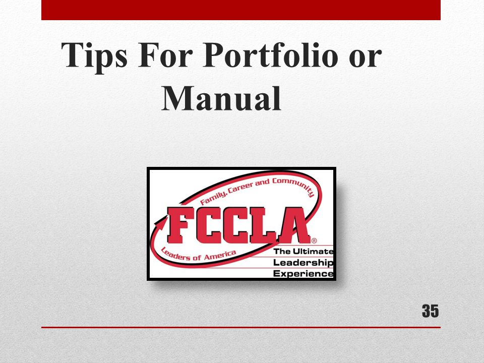 Tips For Portfolio or Manual
