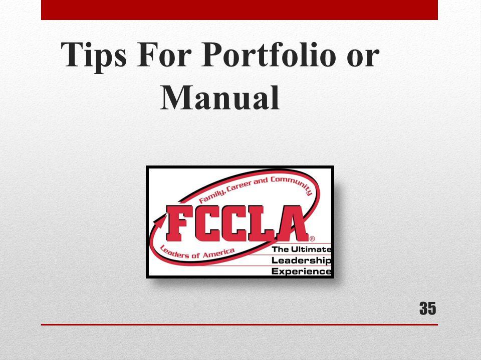 Tips For Portfolio or Manual