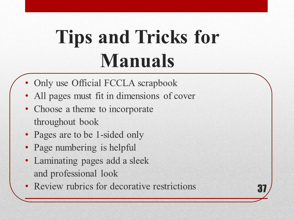 Tips and Tricks for Manuals