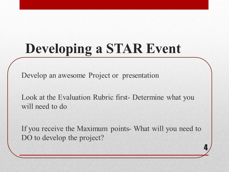 Developing a STAR Event