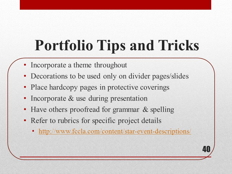 Portfolio Tips and Tricks