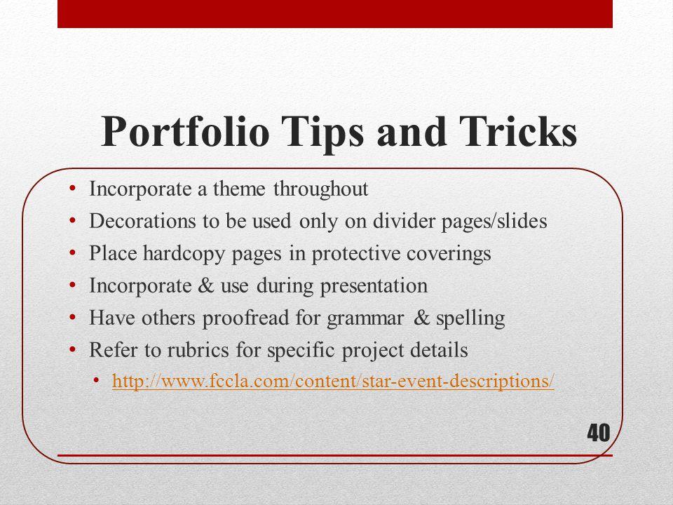 Portfolio Tips and Tricks