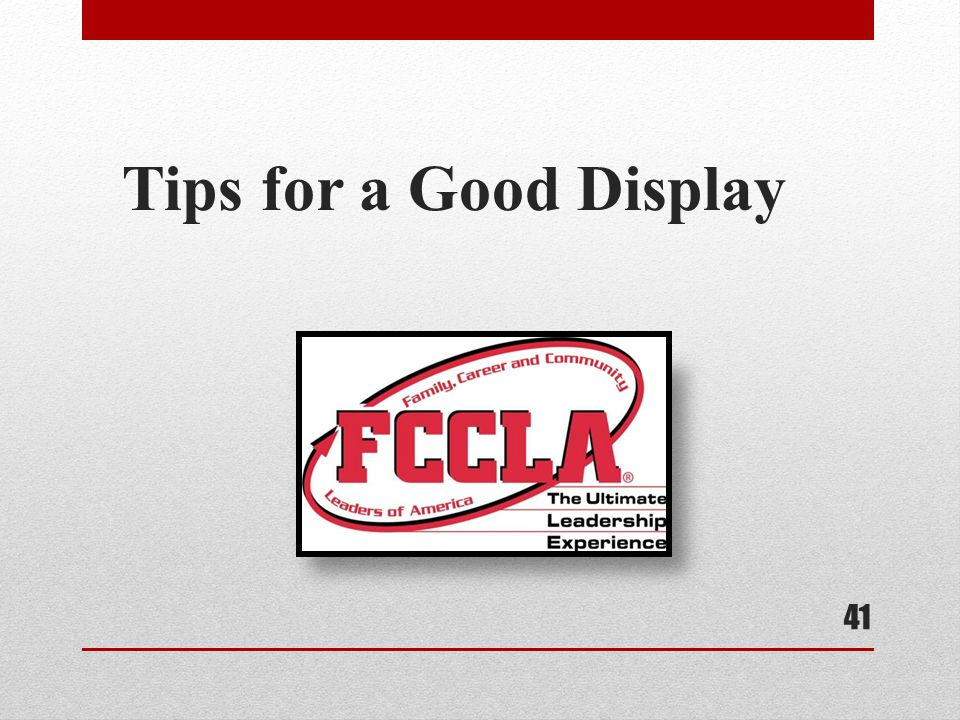 Tips for a Good Display