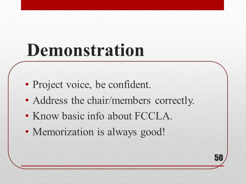 Demonstration Project voice, be confident.