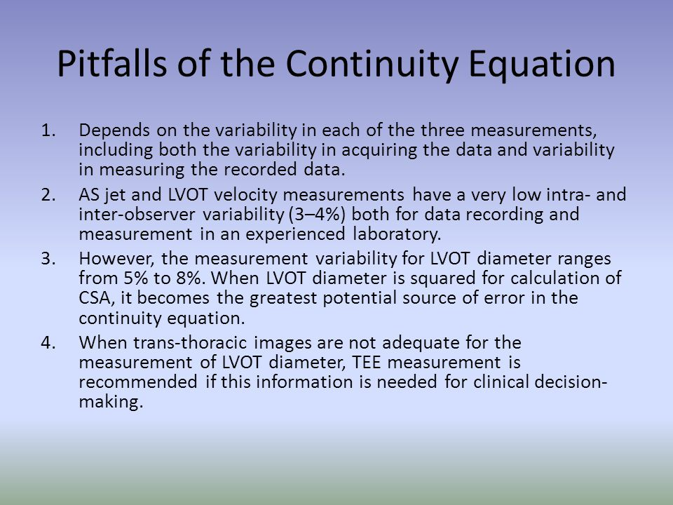 Pitfalls of the Continuity Equation