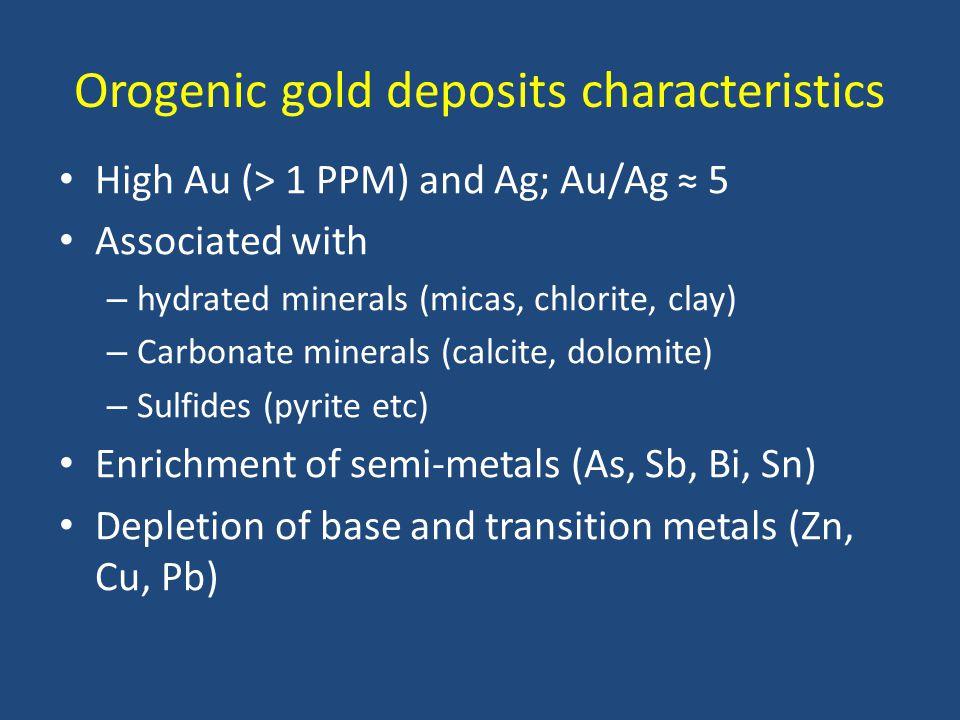 Orogenic gold deposits characteristics