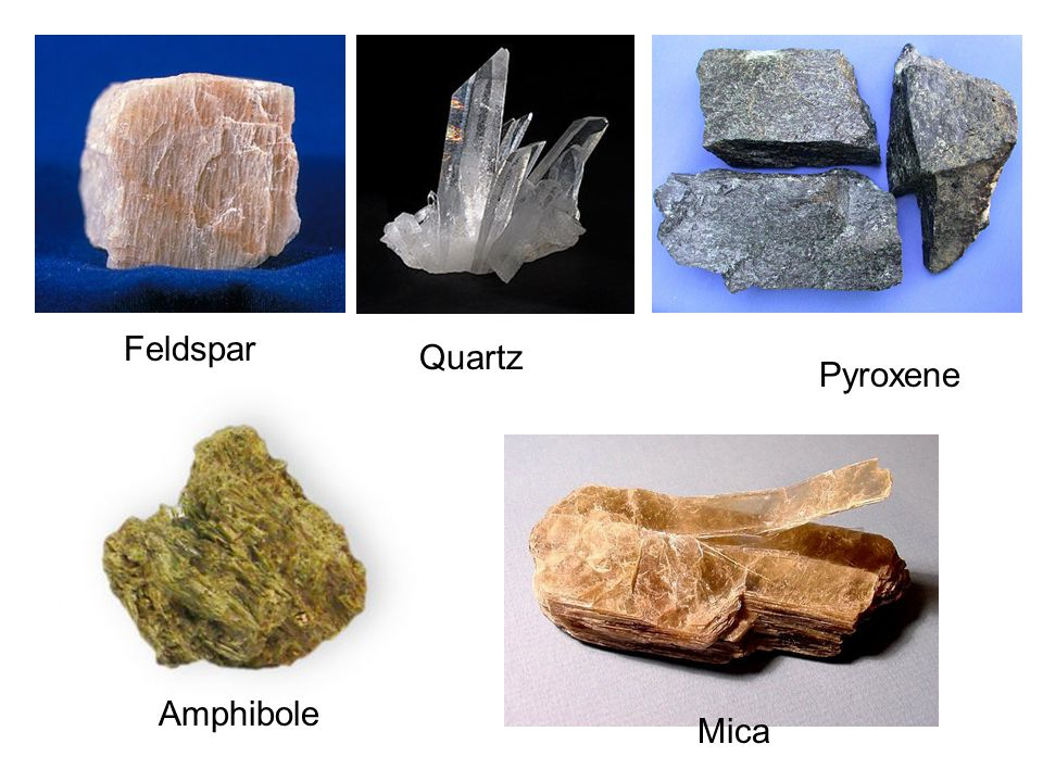 Feldspar Quartz Pyroxene Amphibole Mica