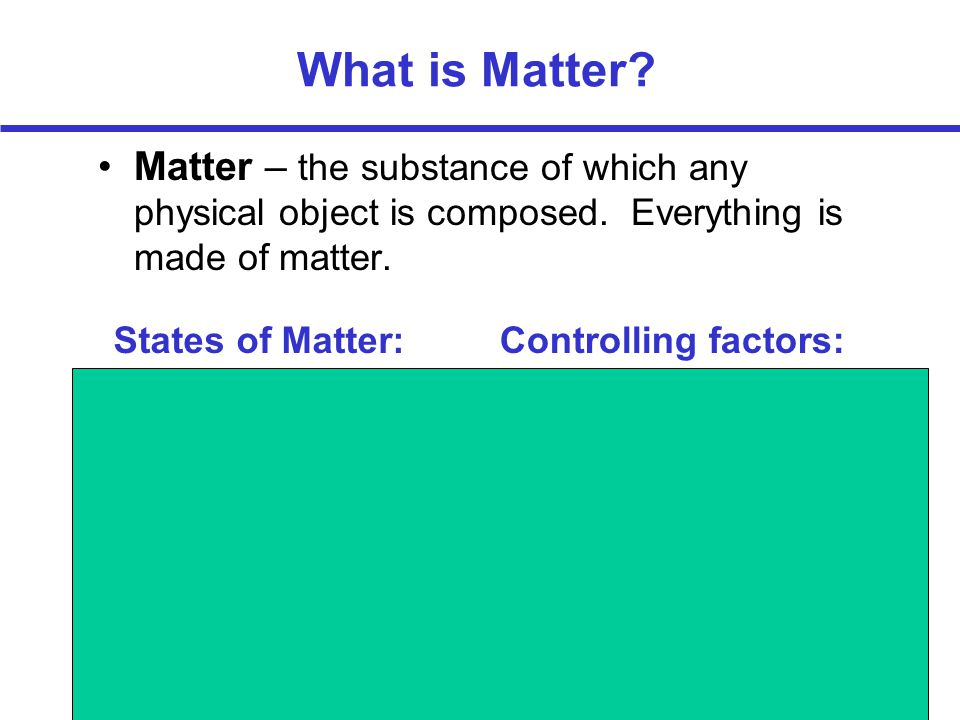 What is Matter Matter – the substance of which any physical object is composed. Everything is made of matter.