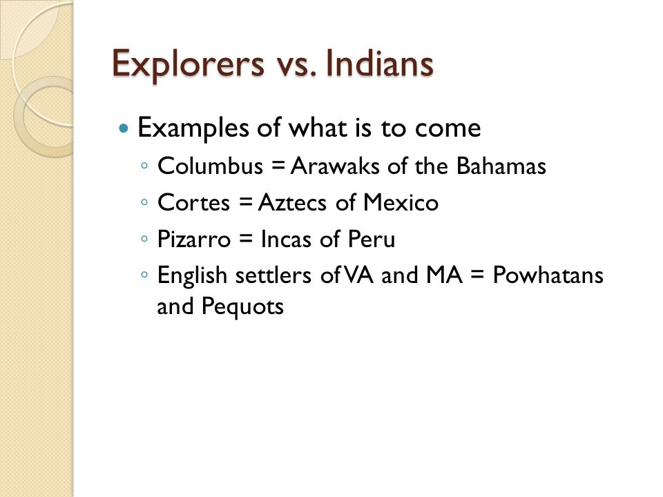 Explorers vs. Indians Examples of what is to come