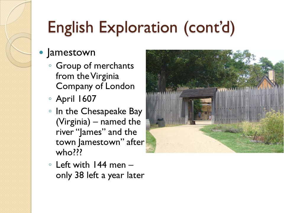 English Exploration (cont'd)