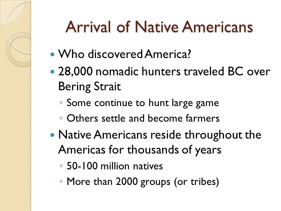 Arrival of Native Americans