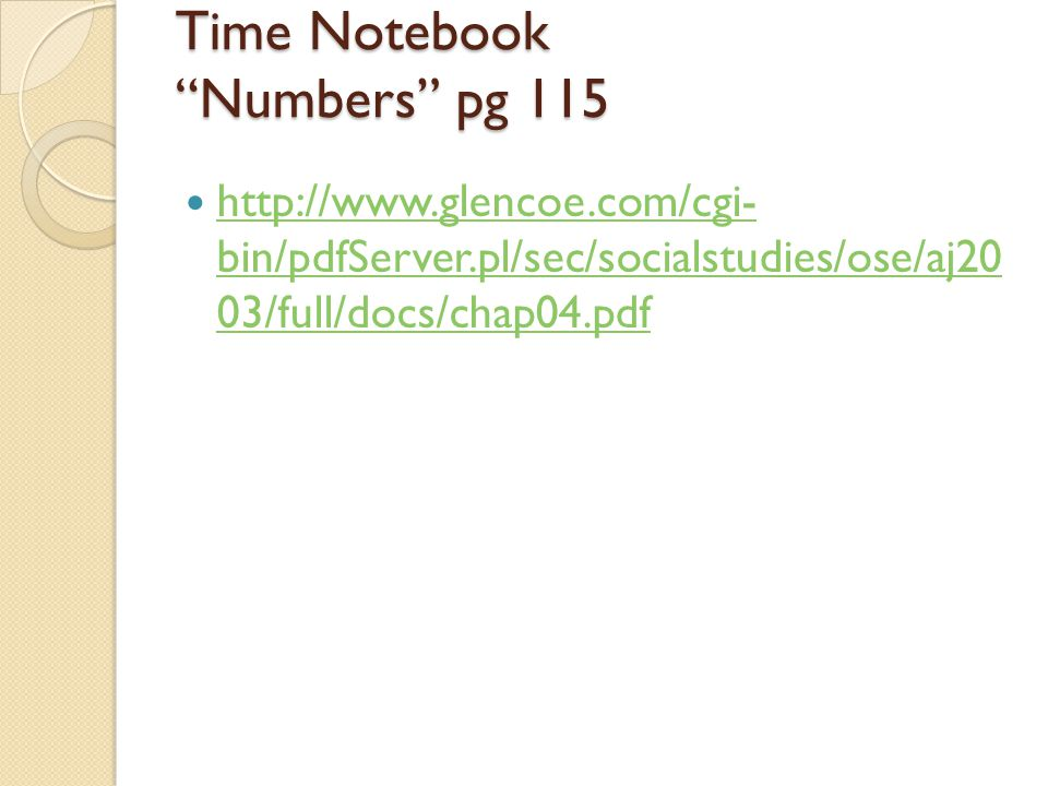 Time Notebook Numbers pg 115