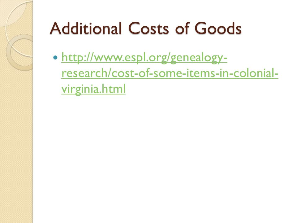 Additional Costs of Goods