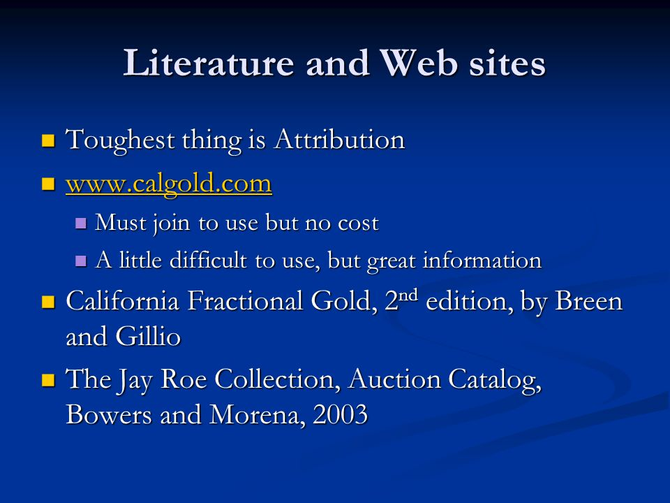 Literature and Web sites