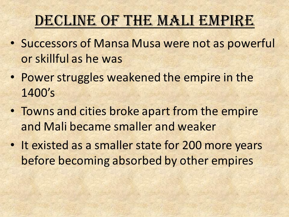 Decline of the Mali Empire