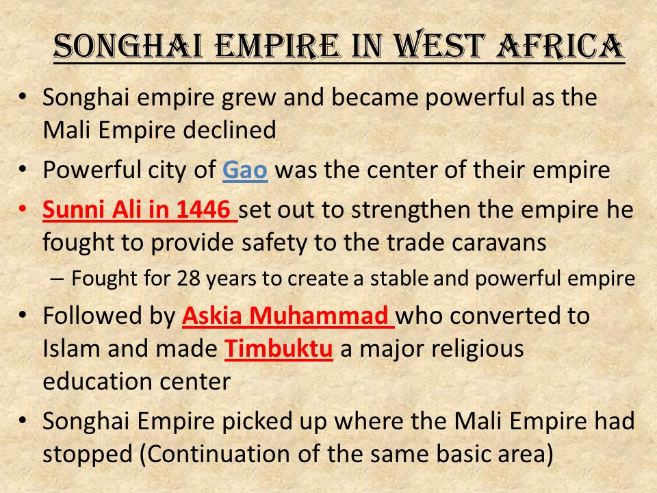 Songhai Empire in West Africa