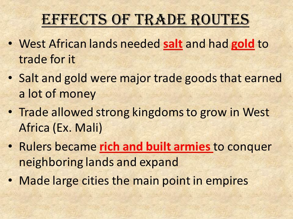 Effects of Trade Routes