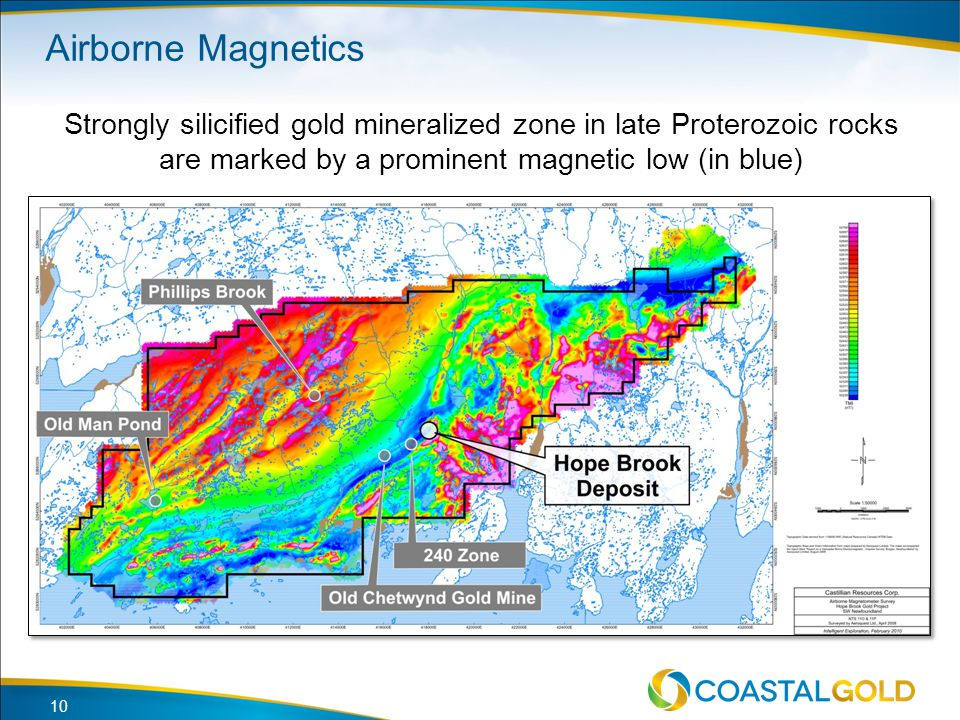 Airborne Magnetics Strongly silicified gold mineralized zone in late Proterozoic rocks are marked by a prominent magnetic low (in blue)