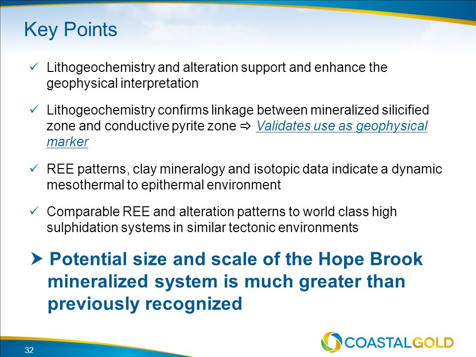 Key Points Lithogeochemistry and alteration support and enhance the geophysical interpretation.