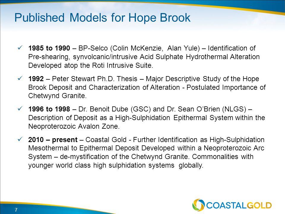 Published Models for Hope Brook