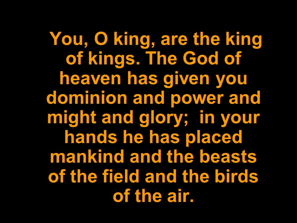 You, O king, are the king of kings