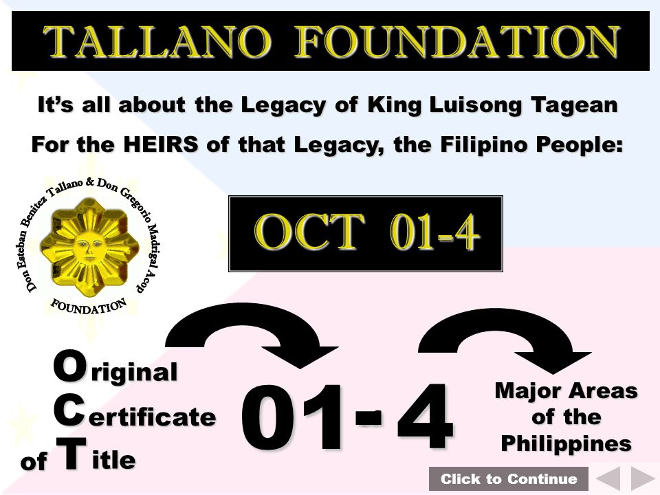 - 01 4 OCT 01-4 TALLANO FOUNDATION O C T riginal ertificate of itle