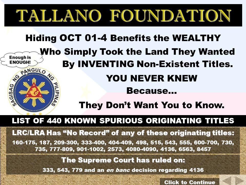 TALLANO FOUNDATION 400,000 Metric Tons of Gold