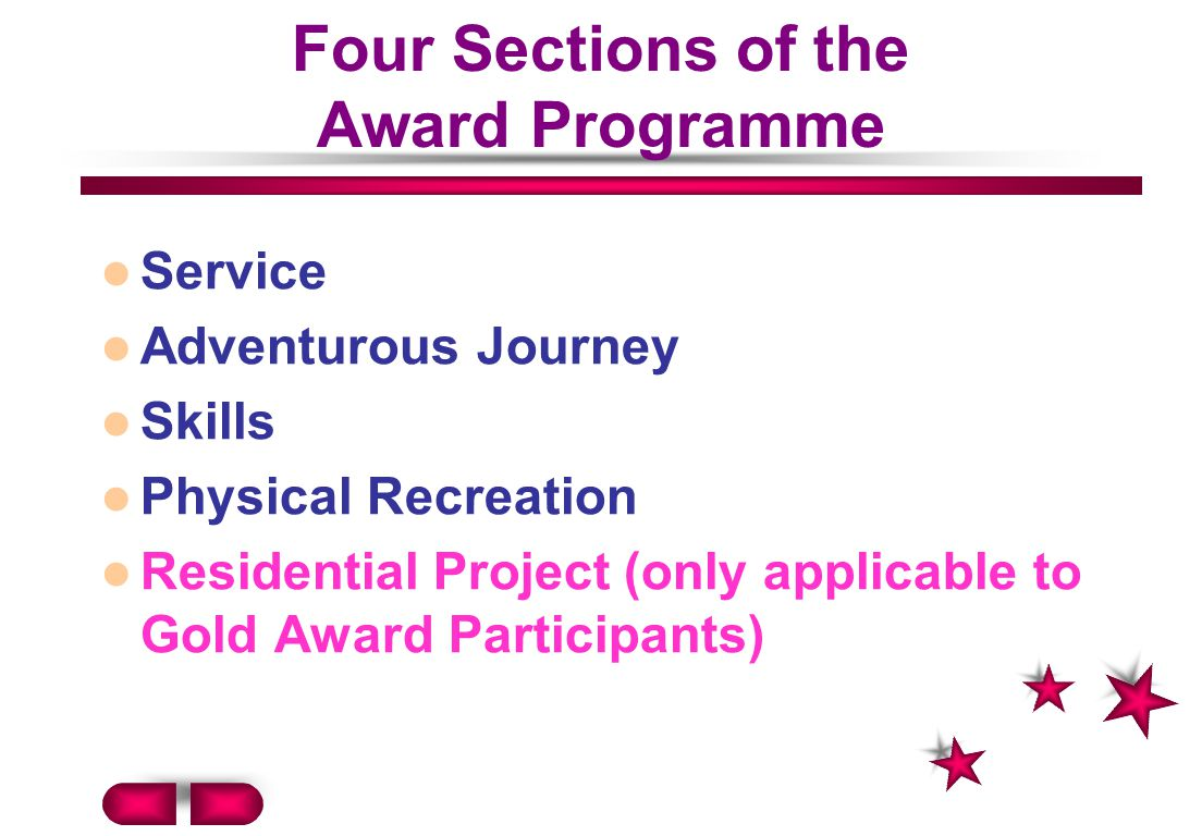Four Sections of the Award Programme
