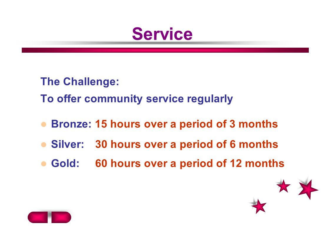 Service The Challenge: To offer community service regularly