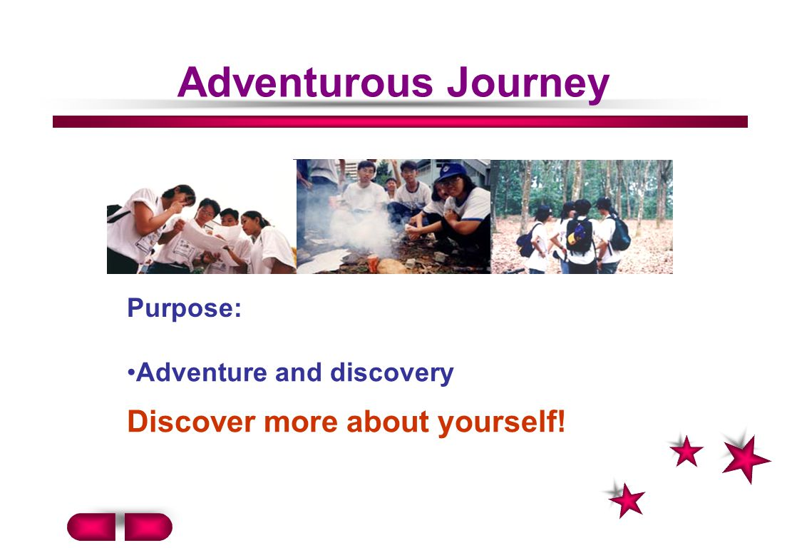 Adventurous Journey Discover more about yourself! Purpose: