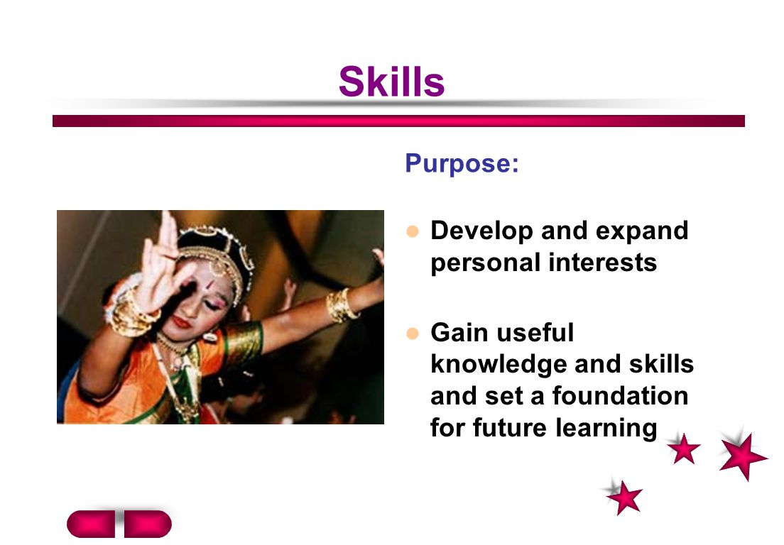 Skills Purpose: Develop and expand personal interests
